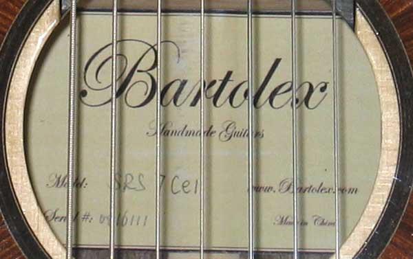 2010 Bartolex SRS7CEL 7-String Classical Harp Guitar Label