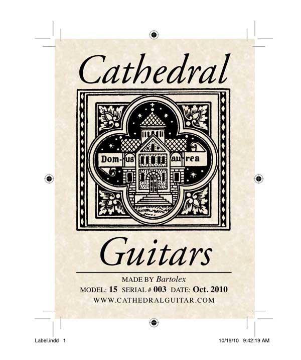 Cathedral Guitar Model 15 Classical Harp Guitar Label