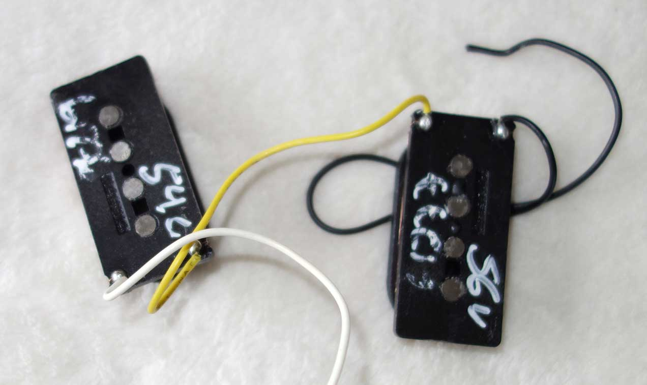 2014 Fender Custom Shop '62 P-Bass Pickups from American Standard Precision Bass, w/Black Covers!!