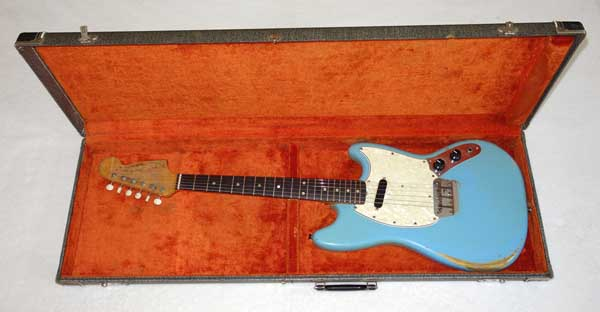 1966 Fender MusicMaster Electric Guitar w/Case, Daphne Blue