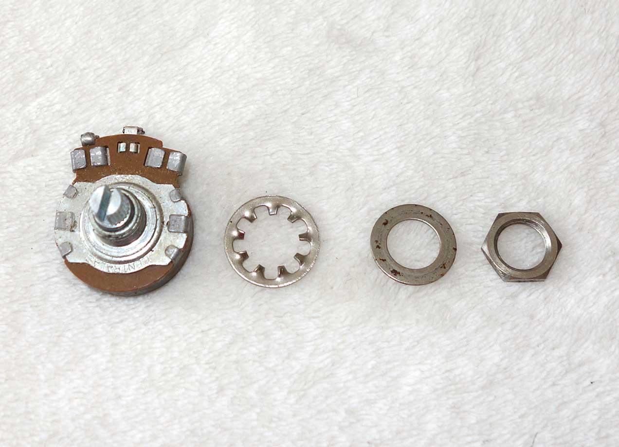 Vintage 1965 Gibson Centralab 500k Pot (525k ?) w/6543 Date Code, Week 43 of '65 w/Nut + 2x Washers