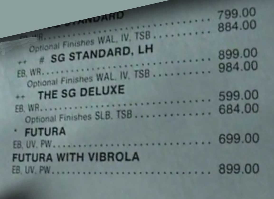 1983 Gibson Catalog Price List Futura