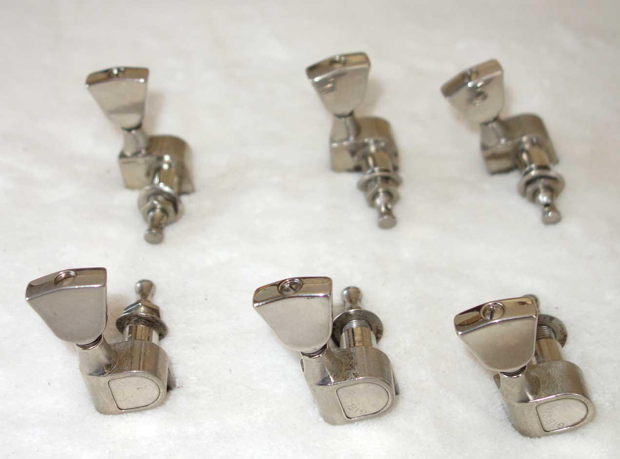 Vintage 1970s Gibson / Schaller M6 Keystone Tuners, Set of 6 (3x3) w/Bushings, Washers, & Screws!!