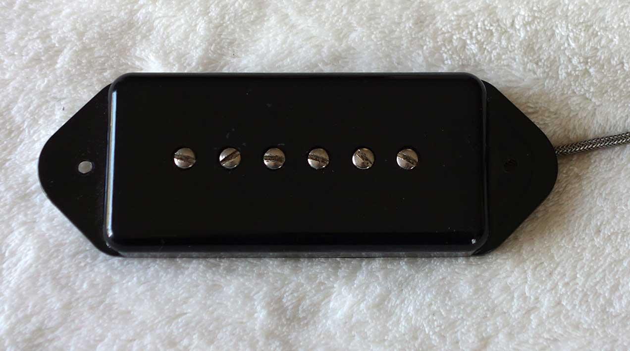 Vintage Gibson P90 Dog Ear Pickup, w/Clear Bobbin, 1968-1970s, w/Black UC-450-1 Cover