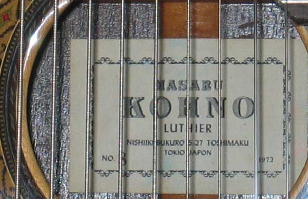 1972 Kohno 8 Ten-String Guitar Label
