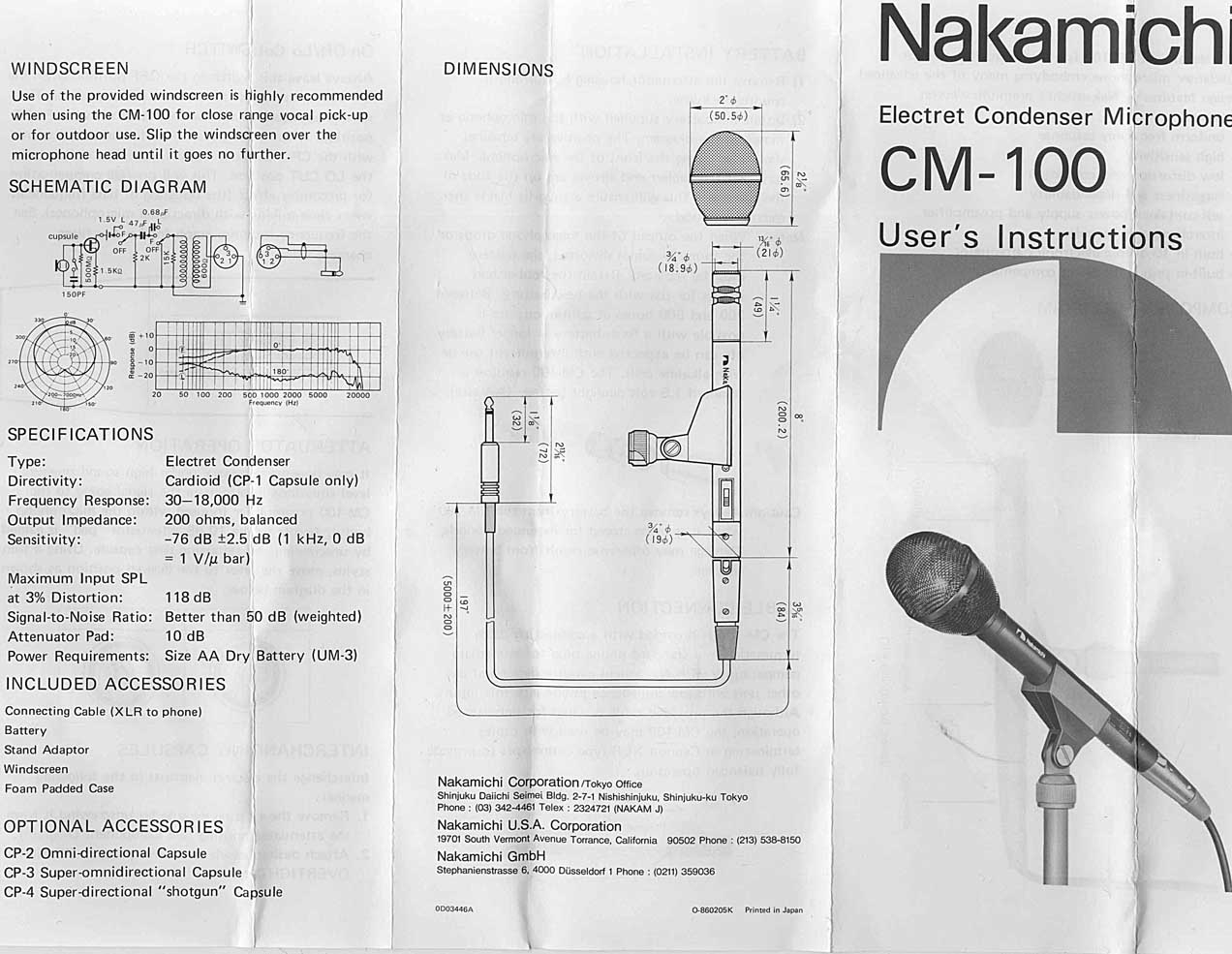 Vintage 1980s Nakamichi CM100 Cardioid Condenser Mic Pair w/CP-1 Cardiod Capsules