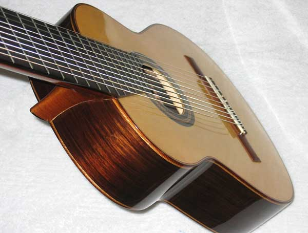 2004 Lucio Nunez 10-String Classical Harp Guitar Brazilian Sides