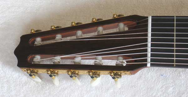 2004 Lucio Nunez 10-String Classical Harp Guitar Headstock Rubner Tuners