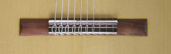 2004 Lucio Nunez 10-String Classical Harp Guitar Bridge