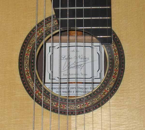 2004 Lucio Nunez 10-String Classical Harp Guitar Rosette