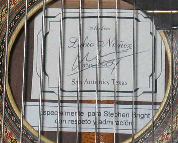 2004 Lucio Nunez 10-String Classical Harp Guitar Label