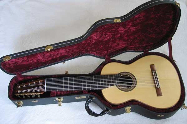 2004 Lucio Nunez 10-String Classical Harp Guitar TKL 8900 Case